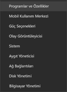 Uygulamalar ve Özellikler seçeneğini gösteren başlat menüsünün ekran görüntüsü