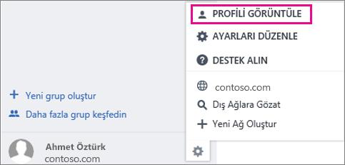 Yammer'da Profili Görüntüle ayarının ekran görüntüsü