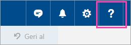 Yardım menüsü düğmesinin Ekran görüntüsü