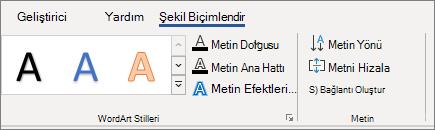 WordArt metin seçenekleri