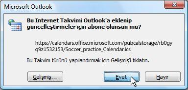 Tüm Internet Takviminin Outlook'a eklenmesiyle ilgili iletişim kutusu