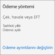 """Ödemesi faturayka yapılan abonelik için Abonelik kartındaki """"Ödeme yöntemi"""" bölümünün ekran görüntüsü."""