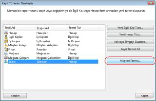 The Customize Record Types dialog box in the Sample Business database with the Vendor record type selected.