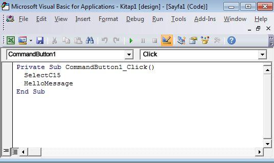 Visual Basic Düzenleyicisi'nde bir alt yordam