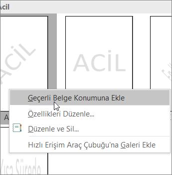 Geçerli belge konumunu Ekle komutunu gösteren filigran küçük resmine sağ tıklayın.