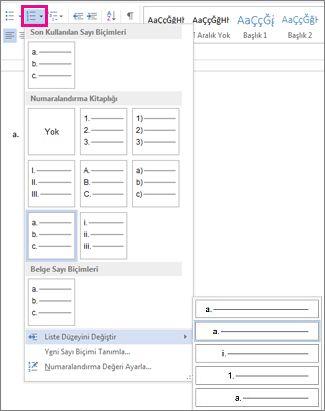 Word 2010'da liste düzeyini değiştirme