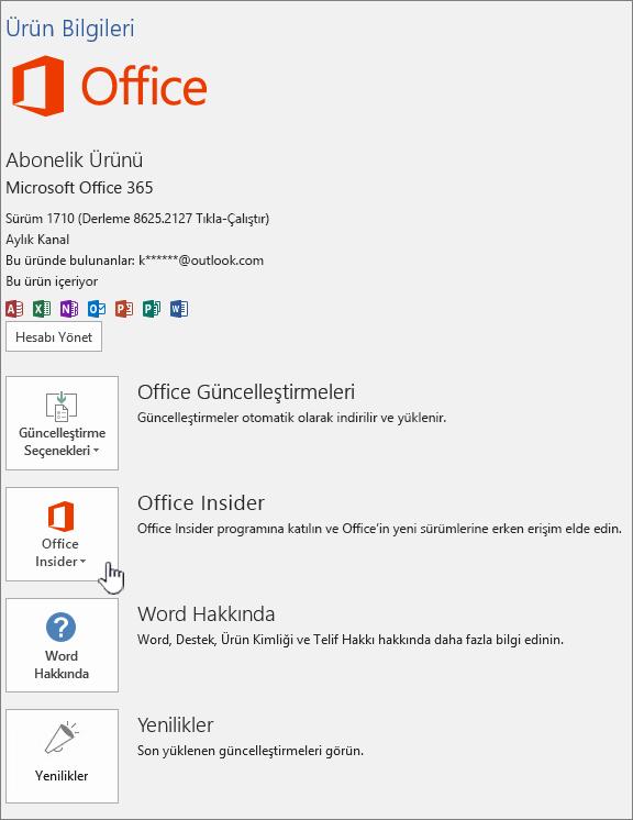Office Insider uygulamasında uygulama katılımı.