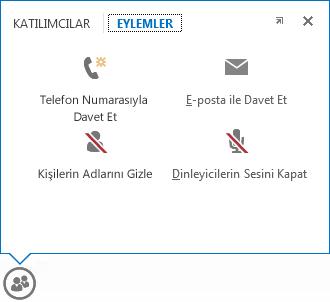 eylemler sekmesi seçili olarak, kişiler düğmesi üzerinde beklerken görüntülenen menünün ekran görüntüsü