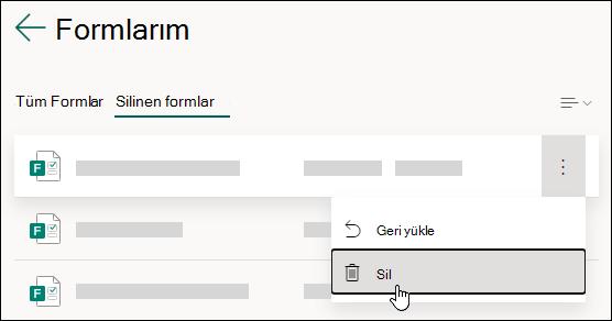 Microsoft Forms 'un silinen Formlar sekmesindeki formu silme.
