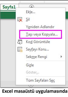Excel masaüstü uygulamasında sayfayı kopyalama seçeneği var