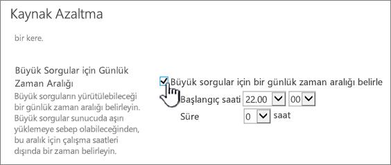 Günlük Zaman Penceresi'nin vurgulu gösterildiği Yönetim Merkezi uygulama ayarları sayfası