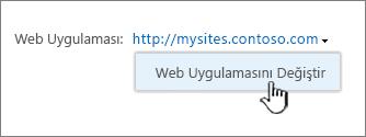 Web uygulamasını Değiştir seçeneği