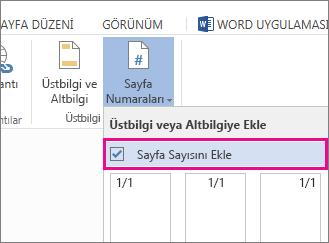 Belgeye sayfa numaralarıyla birlikte sayfa sayısını da eklemek için seçilen onay kutusunun görüntüsü (sayfa X / Y).