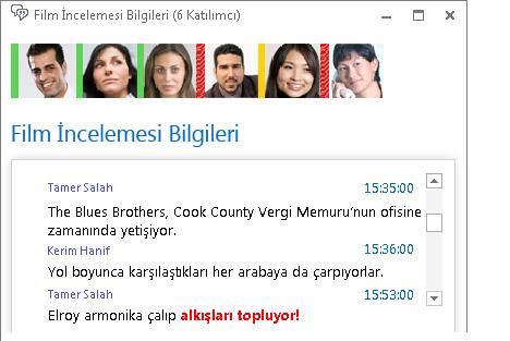 Kalın kırmızı yazı tipiyle yazılmış ve ifade eklenmiş yeni bir gönderiyi gösteren sohbet odası penceresinin ekran görüntüsü