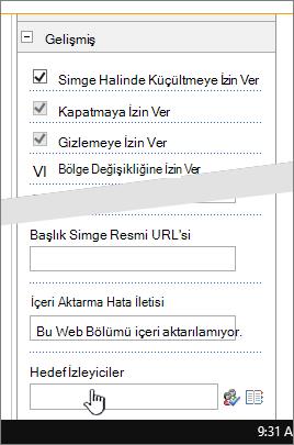 Bölümü vurgulanmış hedef kitle belirleme özelliği bulunan Gelişmiş web bölümü özellikleri