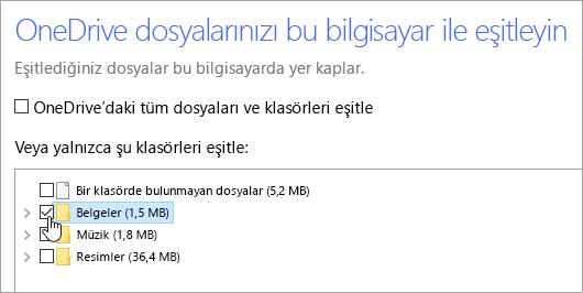 'OneDrive dosyalarınızı bu bilgisayarlaeşitleyin' iletişim kutusunu gösteren ekran görüntüsü.