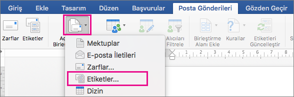 Posta gönderileri sekmesinde, adres mektup birleştirmeyi Başlat ve etiketler seçeneği highlighed olan