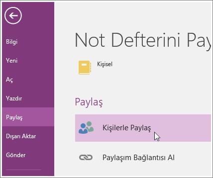 OneNote 2016'da kişilerle Paylaş için işleminin ekran görüntüsü.