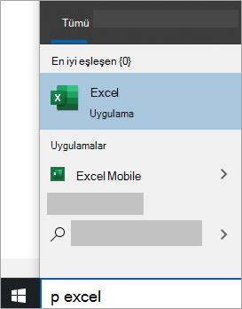 Windows 10 aramalarında uygulama aramanın ekran görüntüsü