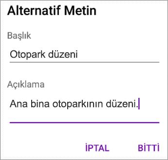Android için OneNote'ta resimlere alternatif metin ekleme