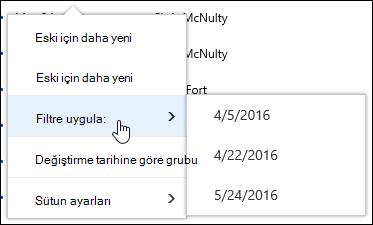 Office 365'te belge kitaplığı görünümü filtre uygulama