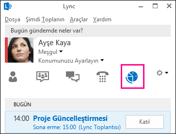 Toplantılar görünümü sekmesinin ekran görüntüsü