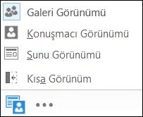 Galeri Görünümü'mü seçili olarak bir görünüm seçme ekran görüntüsü