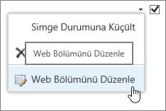 Web Bölümünü Düzenle menü seçeneği vurgulanmış