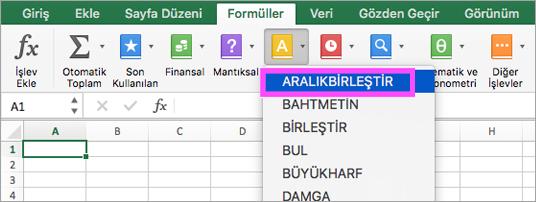 ARALIKBİRLEŞTİR ve METİNBİRLEŞTİR işlevleri Excel'de kullanılabilir.