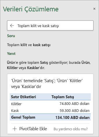 Excel'de Verileri Çözümleme Kaç Kilit veya Kask satıldığıyla ilgili bir soruyu yanıtla.