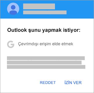 Outlook'a çevrimdışı erişim izni vermek için İzin Ver'e dokunun.