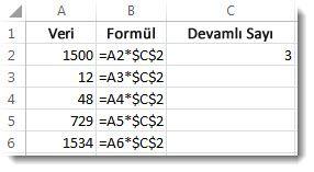 A sütunundaki sayılar, B sütunundaki $ işaretleri içeren formül ve C sütununda 3 sayısı