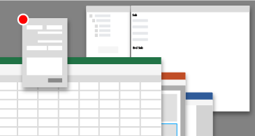 Farklı uygulamaların Visual Basic Düzenleyicisi pencerelerinin kavramsal temsili