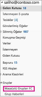 Outlook 2016 ile vurgulandığı gruplar Gezinti Bölmesi