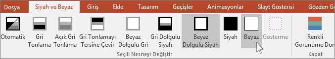 PowerPoint'te seçili nesne menüsünü değiştir seçeneğini gösterir