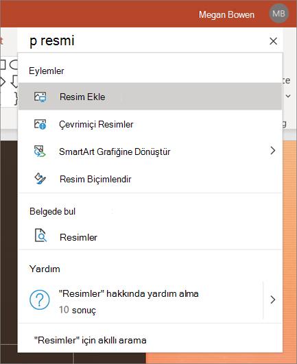 PowerPoint 'te, arama yapılacak resimlerle birlikte eylem bölümündeki arama kutusu