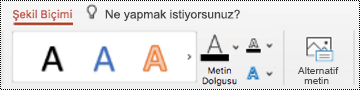 Mac için PowerPoint 'te şeklin Şeritteki alternatif metin düğmesi.