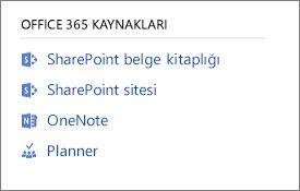 Office 365 kaynakları gösteren ekran görüntüsü