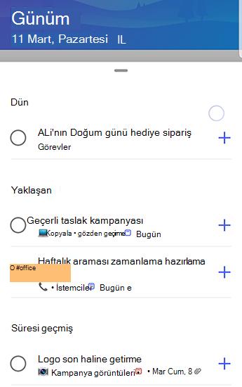 Önerilerle Android 'de Yapılacaklar ekranının ekran görüntüsü.