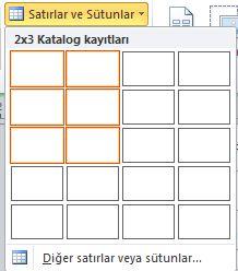 Katalog sayfa düzeni satırlar ve sütunlar