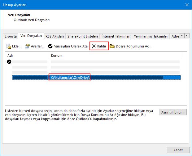 Outlook veri dosyaları iletişim kutusu