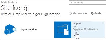 Site İçeriği sayfasında Belgeler'i seçme