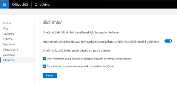 OneDrive yönetim merkezinin bildirimleri sekmesi