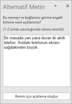 PowerPoint online 'da alternatif metin iletişim kutusu.