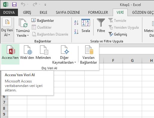 Küçük şeritli Access'ten veri aktarma