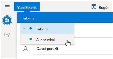 Takvim seçimi açılan menüsünün ekran görüntüsü