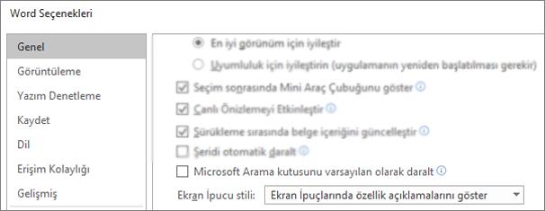 Varsayılan olarak Microsoft arama kutusunu Daralt seçeneğini gösteren dosya > seçenekleri iletişim kutusu.