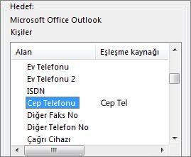 Cep tel Outlook Cep Telefonu alanıyla eşleştirilmiş