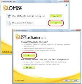 Office Starter'ın ilk kullanımı