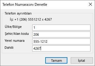 Outlook'ta kişi kartında, telefon numaraları ' nın altında bir seçenek belirleyin ve güncelleştir gerektiği gibi telefon numarasını Denetle iletişim kutusu.